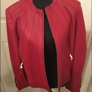 🆕🆕 BAGATELLE RED LEATHER COLLAR LESS JACKET